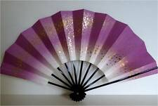 "Japanese Geisha Hand-Made Purple W/Gold ""Odori""Dance Hand Held ""Sensu""Fan/Weight"