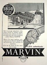 PUBLICITE MARVIN MONTRE PAYSAGE SUISSE NEIGE EGLISE DE 1951 FRENCH AD PUB WATCH