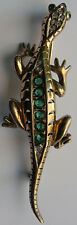 REJA VINTAGE STERLING RHINESTONE FACETED GREEN GLASS BABY LIZARD PIN