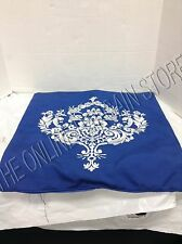Frontgate Outdoor Patio Pool Sofa Chair Throw Pillow Cover Embroidered Blue 20""