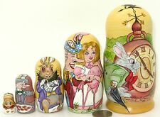 Russian 5 Nesting dolls ALICE IN WONDERLAND Mad Hatter White Rabbit March Hare