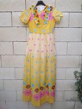 ROBE VINTAGE jaune à fleurs longue années 70 dress 70er 36 / 38