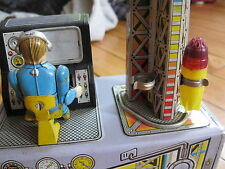 Antique Tin space toy rocket launch console vintage japan with rocket