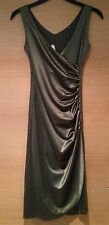 Olive Green Ball Gown Cocktail Dress Wedding Fitted V Neck Wrap Size 6 8 S Small