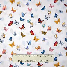 """Suzy's Zoo Fabric - Spring Butterfly Toss on White - Hoffman 19"""""""