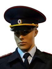 Original ALL SIZES Russian Police Officer Visor Cap Hat Uniform Black Genuine