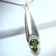 Faceted Peridot Necklace 925 Sterling Silver Convex Shape Imported from India