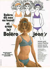 PUBLICITE  1971   BOLERO  soutien gorge Jean's