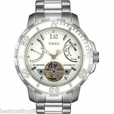 TIMEX SILVER TONE S/ STEEL WHITE DIAL AUTOMATIC DAY/DATE,TACHYMETER WATCH-T2M517