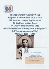 CHARLIE WEBB BRIGHTON 1909-15 CHARITY SHIELD WINNER 1910 ORIGINAL SIGNED CUTTING