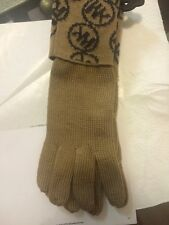 NWT MICHAEL KORS Women's Camel and Charcoal Gray MK MONOGRAM Knit Glove  Small