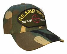 """US Army Sniper Hat """"One Shot One Kill"""" Camo Ball Cap Army Sniper Crosshairs"""