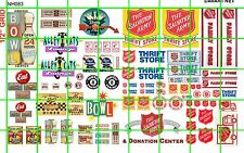 NH083 DAVE'S DECALS 1/2 Set N SCALE BIZ SET BOWLING THRIFT STORE AND AD SIGNAGE