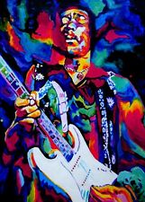 Jimi Hendrix 28x16in painting. Not a print Framing available Woodstock rock