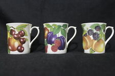 Set of 3 Coffee Mugs Bone China from Staffordshire Collection Berry Patterns