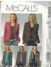 4972 UNCUT McCalls Sewing Pattern Misses Princess Seamed Lined Jacket Trim 14-20