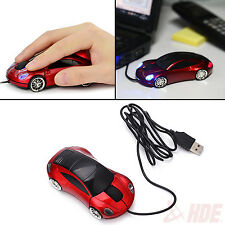 Red USB Wired Light Up Optical Car Shaped Mouse for Computer PC Laptop Notebook