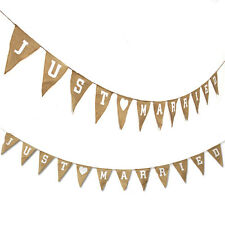 Vintage Just Married Flower Fabric Bunting Wedding Party Hessian Rustic Décor