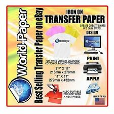 "T-Shirt Inkjet Iron On Heat Transfer paper 8.5"" x 11"" 5 Sheets Pack"