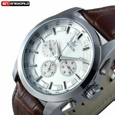 Men Stainless Automatic Mechanical Date Day 6 Hands Leather Wrist Watch Gift New