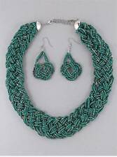 TEAL MULTI STRAND GLASS SEED BEAD BRAIDED NECKLACE EARRING SET