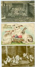 Baby Chicks and Bunnies, Easter Greetings, collection lot of 3 , RPPCs