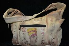 Vintage EMILY ANN Distressed Hobo Leather Purse Egyptian Print WORN Shoulder Bag
