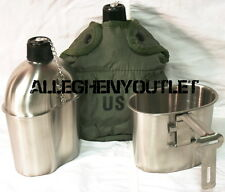 Military Army 1 QT Stainless Steel Canteen with Cup & USGI OD Canteen Cover NEW