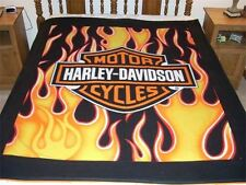 "Harley Davidson Orange Flame Royal Plush Raschel Throw Blanket Twin 60""x80"""