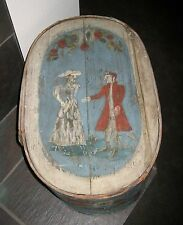 Antique early European band Toile painted Brides box