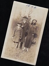 Old Vintage Antique Photograph Mom and Dad With Little Boy Wearing Cool Outfits
