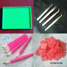 HOT  DIY Nail Art Dotting Tool Set Rhinestone Point Pen+Plate+Picker Gel+Tweezer