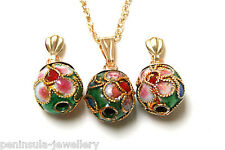 9ct Gold Green Chinese Ball Pendant and Earring Set Made in UK Gift boxed