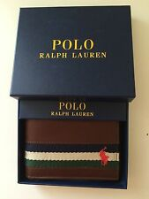Polo Ralph Lauren Passcase Wallet Mens Bifold Pony Logo Striped Brown Leather
