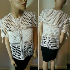 Self Portrait 2015 Sheer Fishnet White Holes Tee  Hollow Out T-shirt Top Size 12