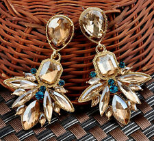 New Design Hot Geometry Crystal Leaf Drop Flower Statement Dangle Stud Earring