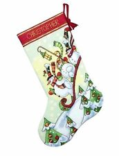 "Dimensions Counted Cross Stitch kit 16"" Stocking ~ SLEDDING SNOWMEN #70-08853"