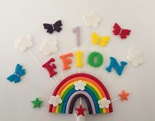 Personalised rainbow butterfly birthday cake topper ( any name and age)