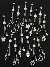 5 Assorted Fancy Long Dangle Belly Rings WHOLESALE Lot 14g Body Jewelry Star Gun