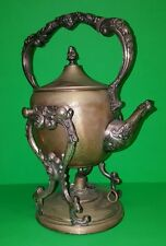 Vintage Silver Over Copper Teapot with Warming Stand Burner Crown Hallmark