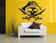 Wall Room Decor Art Vinyl Sticker Mural Decal Pirate Flag Skull Big Large AS982