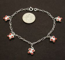 Dangling Enameled Butterfly Charm Bracelet Genuine 925 Sterling Silver