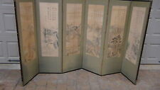 ANTIQUE 19C CHINESE 6-PANEL PAINTED LANDSCAPE SCREEN WITH 5 ROWS OF CALIGRAPHY