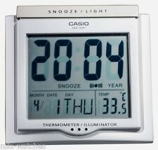 Casio DQ-750F-8D Digital Alarm Clock - Thermometer Snooze Calendar DQ-750 Silver