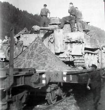WWII Photo German Tiger Tank On Train with Soldiers WW2 B&W World War Two / 2180