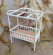 Bespaq Dollhouse Miniature Canopy Baby Bed Bassinet Cradle Crib 1:12
