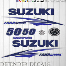 Suzuki 50 hp Four Stroke outboard engine decal sticker set kit reproduction BLUE