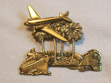 Vintage pressed brass pin brooch, travel theme, w/ plane, ship and train