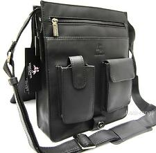 Large Messenger Organiser Shoulder Bag Real Leather Black Visconti New 18410