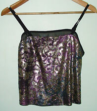 BNWT Topshop Foil Jacquard Cami Evening Spaghetti Party Top RRP £18 Size 6
